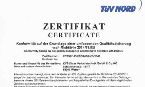PED Zertifikat